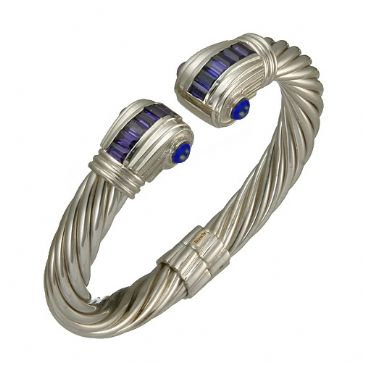 18K White Gold Almani Roman Vintage Design Handmade Bangle Set With Amethyst Stones