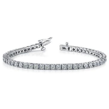 14K White Gold Diamond Round Brilliant Classic Prong Tennis Bracelet (5.30ctw.)
