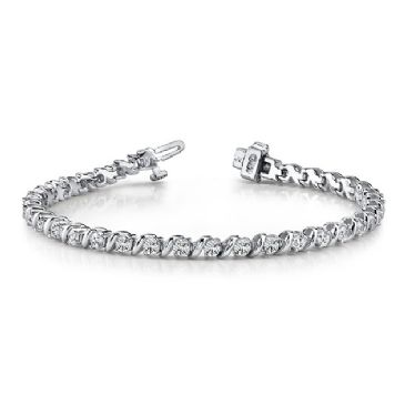 14K White Gold Diamond Round Brilliant Prong Set Tennis Bracelet (7.00ctw.)