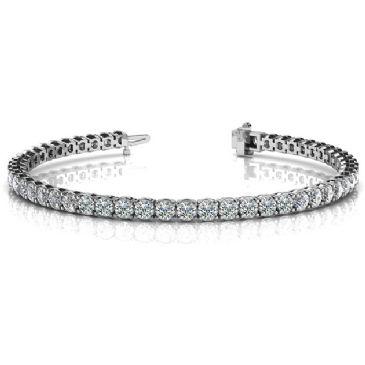 14K White Gold Diamond Round Brilliant 4 Prong Set Tennis Bracelet (6.12ctw.)
