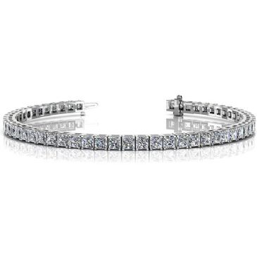 14K White Gold Diamond Princess Cut 4 Prong Tennis Bracelet (8.96ctw.)