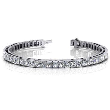 14K White Gold Diamond Princess Cut Channel Set Tennis Bracelet (8.96ctw.)
