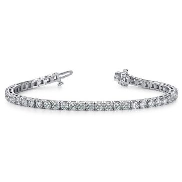 14K White Gold Diamond Round Brilliant 4 Prong Tennis Bracelet (7.68ctw.)