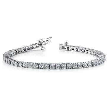 18K White Gold Diamond Round Brilliant Classic Prong Tennis Bracelet (5.30ctw.)