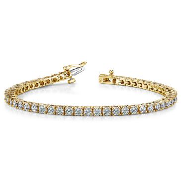 18K Yellow Gold Diamond Round Brilliant Classic Prong Tennis Bracelet (5.30ctw.)