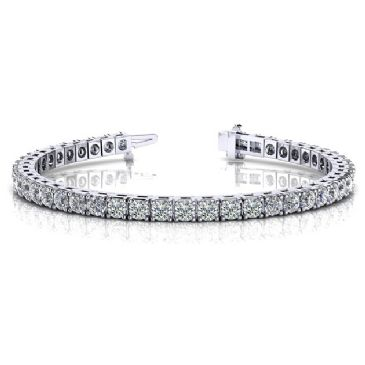 18K White Gold Diamond Round Brilliant Classic Prong Tennis Bracelet (5.98ctw.)