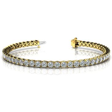 18K Yellow Gold Diamond Round Brilliant 4 Prong Set Tennis Bracelet (6.12ctw.)