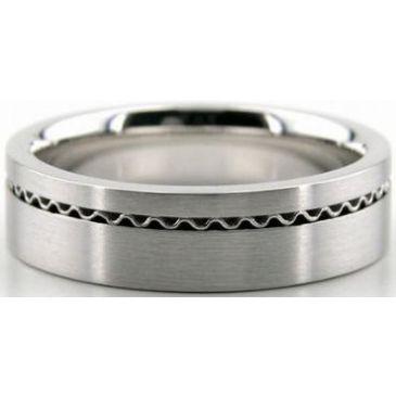 950 Platinum 6mm Handmade Wedding Band Wave Design 025
