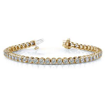 18K Yellow Gold Diamond Round Brilliant Classic Prong Tennis Bracelet (5.52ctw.)