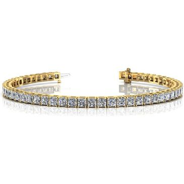 14K Yellow Gold Diamond Princess Cut 4 Prong Tennis Bracelet (8.96ctw.)