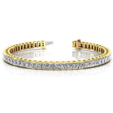 14K Yellow Gold Diamond Princess Cut Channel Set Tennis Bracelet (8.96ctw.)