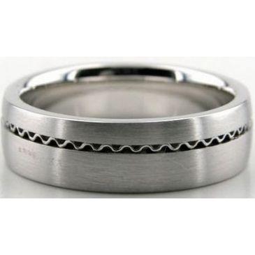 950 Platinum 6.5mm Handmade Wedding Band Wave Design 026