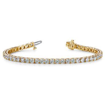 14K Yellow Gold Diamond Round Brilliant 4 Prong Tennis Bracelet (7.68ctw.)
