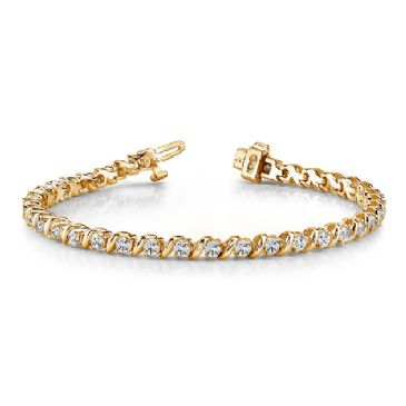 18K Yellow Gold Diamond Round Brilliant Prong Set Tennis Bracelet (7.00ctw.)