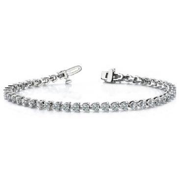 14K White Gold Diamond Round Brilliant 3 Prong Set Tennis Bracelet (5.06ctw.)