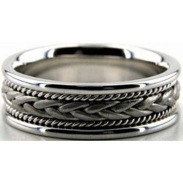 950 Platinum 7mm Handmade Wedding Band Braid Design 003