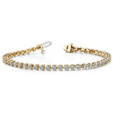 14K Yellow Gold Diamond Round Brilliant 3 Prong Set Tennis Bracelet (5.06ctw.)