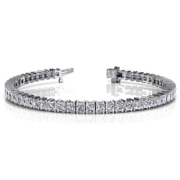 14K White Gold Diamond Princess Cut 4 Prong Set Tennis Bracelet (9.35ctw.)