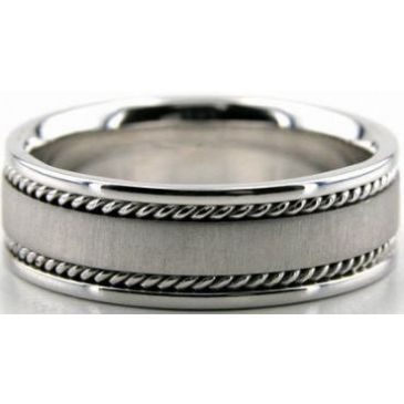 950 Platinum 7mm Handmade Wedding Band Wave Design 001