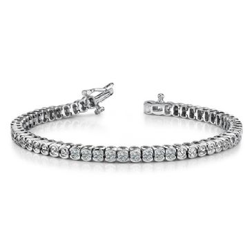 14K White Gold Diamond Round Brilliant Half Bezel Set Tennis Bracelet (5.13ctw.)