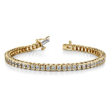 14K Yellow Gold Diamond Round Brilliant Half Bezel Set Tennis Bracelet (5.13ctw.)