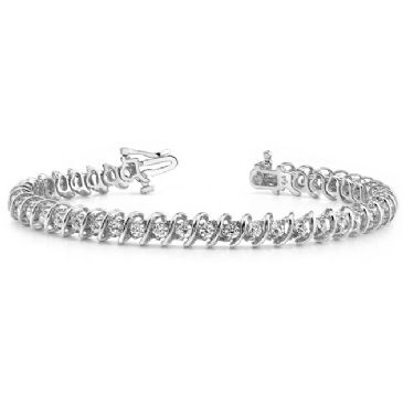 14K White Gold Diamond Round Brilliant Spiral Set Tennis Bracelet (2.94ctw.)