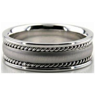 950 Platinum 7mm Handmade Wedding Band Rope Design 002