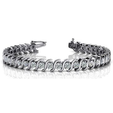 14K White Gold Diamond Round Brilliant S Prong Set Tennis Bracelet (4.18ctw.)