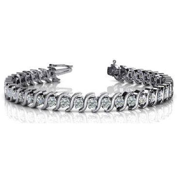 18K White Gold Diamond Round Brilliant S Prong Set Tennis Bracelet (4.18ctw.)