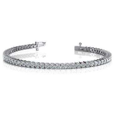 14K White Gold Diamond Round Brilliant 2 Prong Set Tennis Bracelet (5.04ctw.)