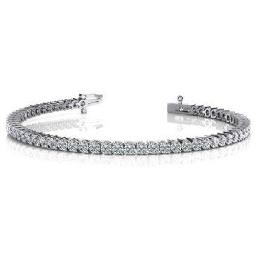 14K White Gold Diamond Round Brilliant 2 Prong Set Tennis Bracelet (5.04ctw.)