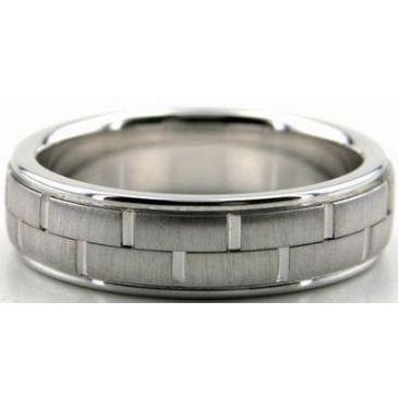 950 Platinum 6mm Handmade Wedding Band Block Design 009
