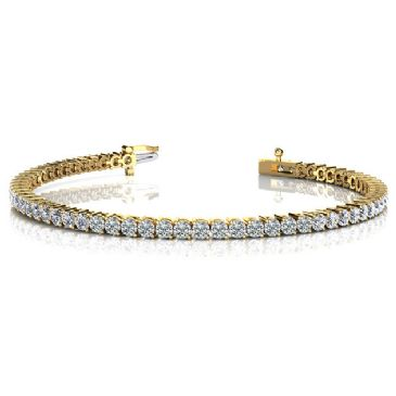 14K Yellow Gold Diamond Round Brilliant 2 Prong Set Tennis Bracelet (5.04ctw.)