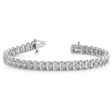 14K White Gold Diamond Round Bridge Prong Set Tennis Bracelet (2.00ctw.)