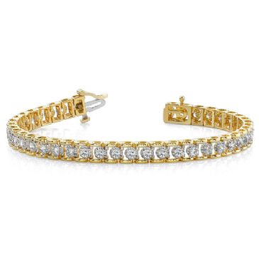 14K Yellow Gold Diamond Round Bridge Prong Set Tennis Bracelet (2.00ctw.)
