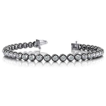 14K White Gold Diamond Round Brilliant Bezel Set Tennis Bracelet (3.04ctw.)