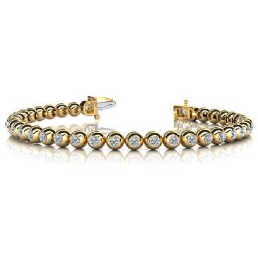 14K Yellow Gold Diamond Round Brilliant Bezel Set Tennis Bracelet (3.04ctw.)