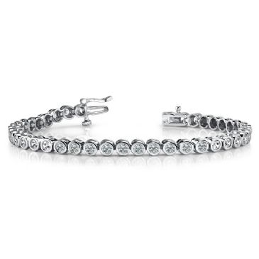 14K White Gold Diamond Round Brilliant Bezel Set Tennis Bracelet (2.82ctw.)