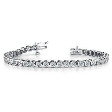 14K White Gold Diamond Round Brilliant Bezel Set Tennis Bracelet (2.82ctw.)