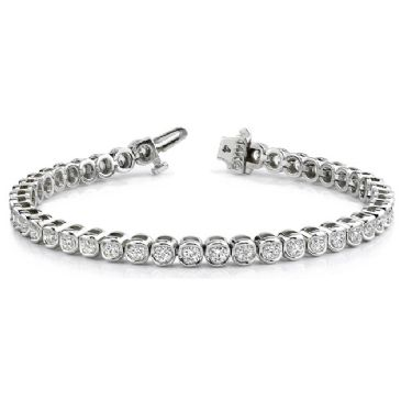 14K White Gold Diamond Round Brilliant Channel Set Tennis Bracelet (3.87ctw.)