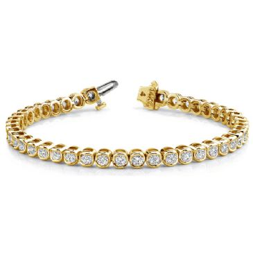 14K Yellow Gold Diamond Round Brilliant Bezel Set Tennis Bracelet (3.87ctw.)