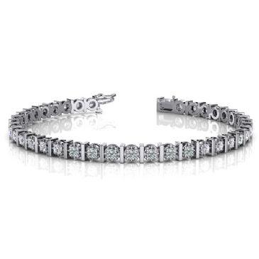 14K White Gold Diamond Illusion Round Brilliant Prong Set Tennis Bracelet (1.56ctw.)