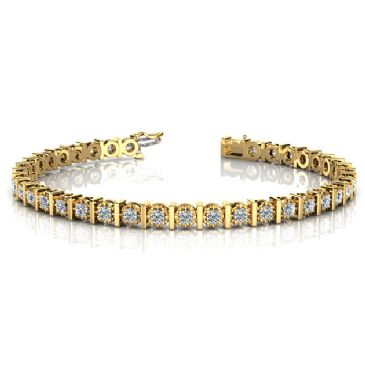 14K Yellow Gold Diamond Illusion Round Brilliant Prong Set Tennis Bracelet (1.56ctw.)