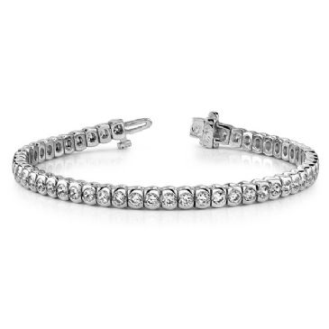 14K White Gold Diamond Round Brilliant Half Bezel Tennis Bracelet (3.06ctw.)