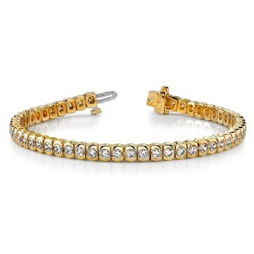 14K Yellow Gold Diamond Round Brilliant Half Bezel Tennis Bracelet (3.06ctw.)