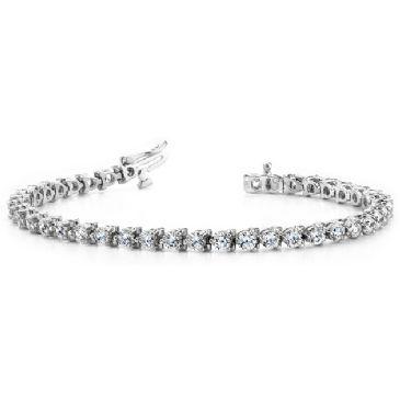 14K White Gold Diamond Round Brilliant 3 Prong Set Tennis Bracelet (6.0ctw.)