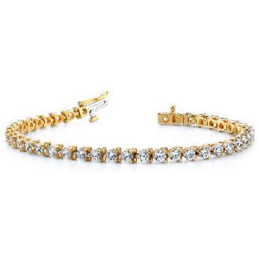 14K Yellow Gold Diamond Round Brilliant 3 Prong Set Tennis Bracelet (6.0ctw.)