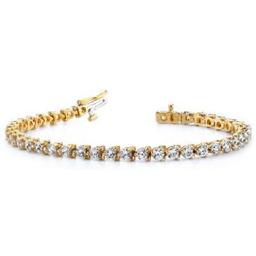 18K Yellow Gold Diamond Round Brilliant 3 Prong Set Tennis Bracelet (6.0ctw.)