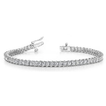 14K White Gold Diamond Princess Cut 2 Prong Set Tennis Bracelet (7.93ctw.)