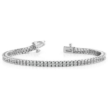 14K White Gold Diamond Round Brilliant Channel Set Tennis Bracelet (2.98ctw.)